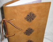 Hand made soft bound Leather Journal, Vintage Inspired, in Tan Leather with metal embellishment