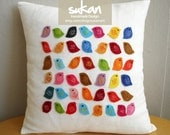 Sukan / Birds Linen Pillow Cover - 14x14