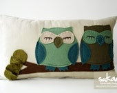 Sukan / Turquoise-Green Owls Pillow Cover - 12x20