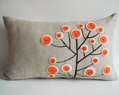 Sukan / Original Pen Pattern Pillow Cover - 12x20 inch - Beige, Black, Orange, White Color