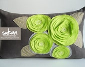 Sukan / Green Flowers, Linen Pillow cover - 12x20 inch