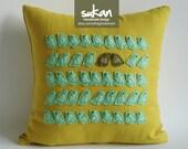 Sukanart / Birds Linen Pillow Cover - 14x14 - decorative throw pillows - bird pillow - bird pillow case - bird pillow cover