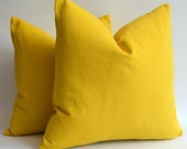 Sukan / 1 piece Mustard Cotton Canvas Pillow Case (Cover, Slip)  - 18x18 inch