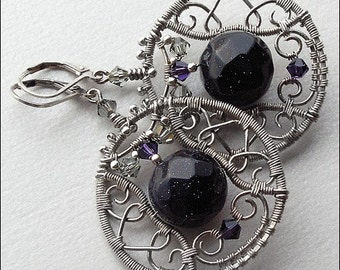 CHARMING earrings or earclips in silver, made from fine silver, sterling silver and Semi preciour Blue Goldstone.