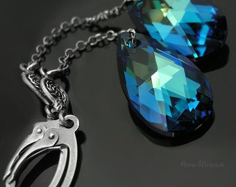 Sterling, bermuda blue, filigree earrings, with Swarovski crystals
