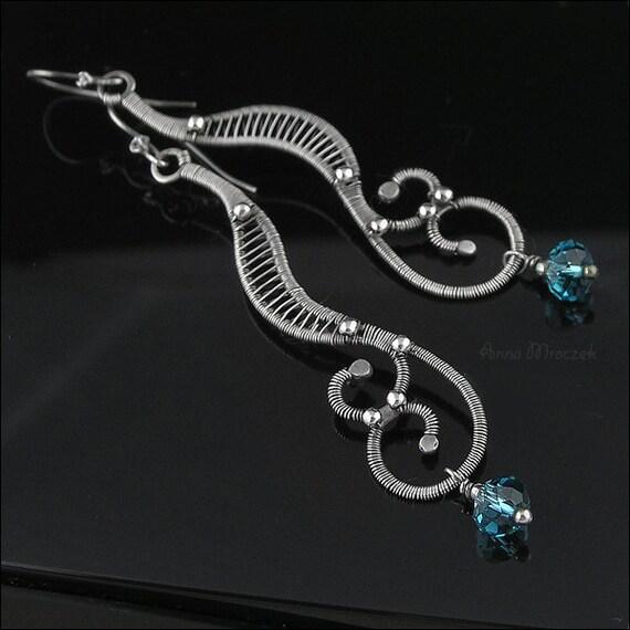 SEAHORSE pure silver hooks earrings with Swarovski