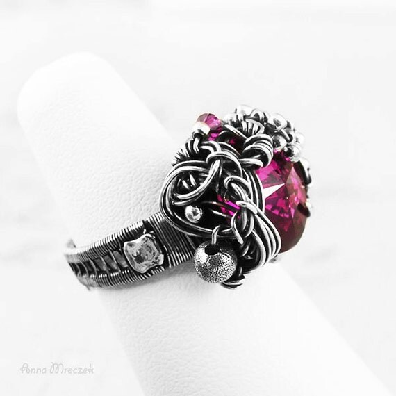 ENGAGEMENT RING - ruby, fuchsia  - sterling silver and fine silver, with Swarovski Fuchsia zircon  - engagement ring