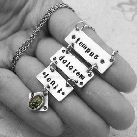 Tempus Dolorem Lenit  - talisman, amber, engraved, sterling, silver, necklace, large pendant