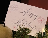 Happy Holidays Notecards with Snowflakes - Glitter Embellished