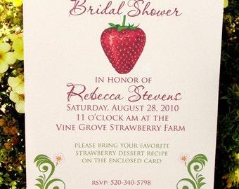 Strawberry Invitation for Weddings & Bridal Showers - DIY Summer Strawberry Party Invitation, Berry Sweet Invitation Template, Print at Home