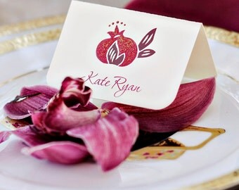 Pomegranate Place Cards - hand painted and embellished with glitter