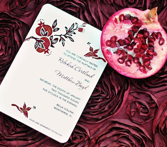 Pomegranate Wedding Invitations - hand painted and embellished with glitter