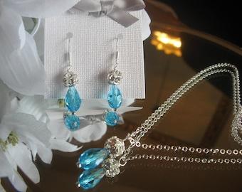 Swarovski Crystal Zircon Blue Teardrop and Rhinestone Necklace and Earring Set - Bride or Bridesmaid Jewelry Set