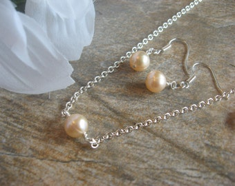 Elegant Peach  Pink Akoya Cultured Pearl Bridal Necklace and Earring Set -Bride or Bridesmaid Jewelry Set/Wedding Jewelry