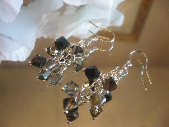 Swarovski Crystal Cascade Earrings on Sterling Silver Chain - Grey Black - Dollar Days