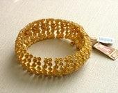 Vintage Monet Goldtone Flower Link Bracelet Signed, NOS with original paper tags