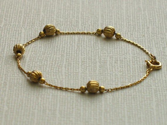Vintage Gold Bead and Chain Bracelet