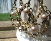 Pearl and Chains Chandelier earrings