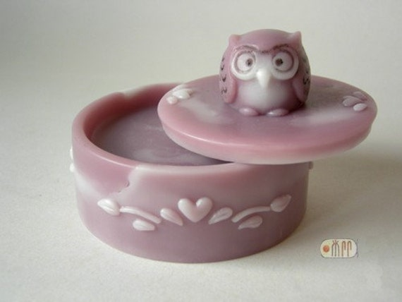 Soap Box with Owl Knob Lid - 2pcs/ set - Silicone Soap Mold ( Soap Republic )
