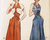 50s Butterick 5718 Halter Dress and Bolero--Converts from Street to Sun Dress Size 16 Bust 34