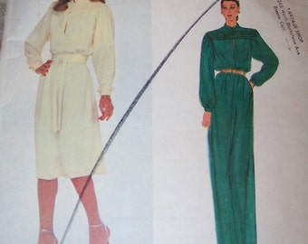 70s Vogue 2727 Vogue Paris Original Nina Ricci Loose Fitting Pullover Dress Size 8 Bust 31