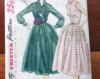 50s Simplicity 7355 Collared Dress with Full Gathered Skirt  Size 12 Bust 30