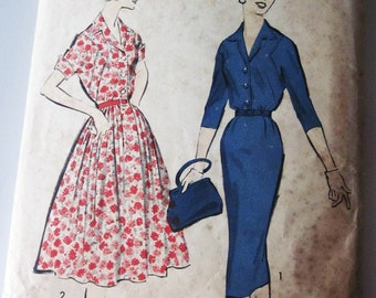 50s Advance 8646 Misses Shirtwaist Dress with Front Detail Wiggle or Flared Skirt Size 16 Bust 34