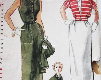 50s Simplicity 4245 Slim Sleeveless Dress & Short Jacket  Size 16 Bust 36