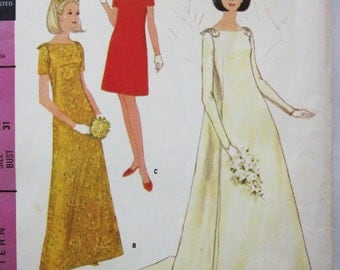 60s McCalls 9016 Wedding Dress with Detachable Train Bridesmaids Size 10 Bust 31 Mod