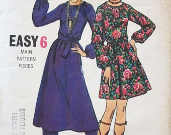 70s Butterick 5859 Mini Flared Dress with Elasticized Neck and Waist & Pants - Size 12 Bust 34