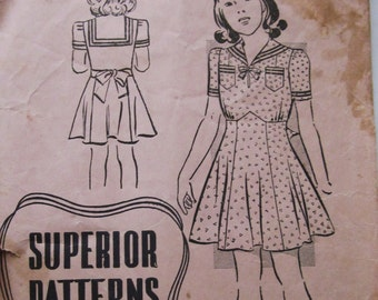 40s Superior 9915 Girls Sailor Collar Dress or Nautical Frock Pre Teen size