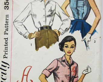 50s Simplicity 2195 Classic Shirtwaist Blouse and Monogram Size 12 Bust: 32