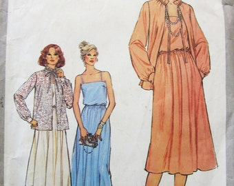 70s Simplicity 8701 Strappy Evening Dress with Gathered Waist and Jacket Size 14 Bust 36