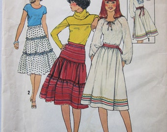 70s Simplicity 8076 Wrapped Front or Tiered Flared Skirts Size 14 Waist 28