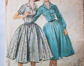 50s McCalls 4343 Sub-Teen Dress with Full Gathered or Pleated Skirt, Collared Size 10S Bust 29