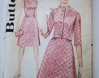 60s Butterick 2888 Junior Slim Sleeveless Dress with Band Collar Jacket Size 9 Bust 30