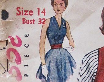50s Simplicity 3968 Jumper Dress with Full Skirt Blouse, Day and Evening Style Size 14 Bust 32