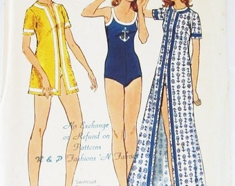 70s Butterick 6666 Swimsuit & Jewel Neckline Cover-Up Size 14 Bust 36