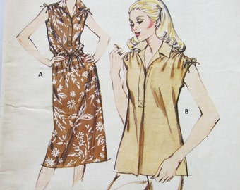70s Kwik Sew 885 Sleeveless Dress or Top with Gathered Shoulders Size 12 14 16 Bust 37 38 40