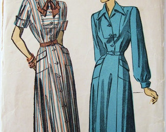 40s Advance 4883 Shirt Dress with Yoke, Pointed Collar  - Size 16 Bust 34