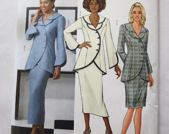 Simplicity 2660 Slim Skirt & Jacket with Below Hip Curve, Shawl Collar Size BB 8 10 12 14  Bust 31 32 34 36