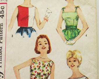 60s Simplicity 3963 Sleeveless Blouse or Overblouse, Strappy with Peplum  -Size 11 Bust 31