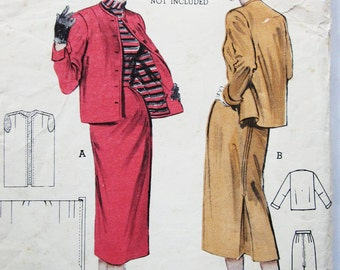 50s Butterick 6685 Match Stick Suit Slim Collarless Jacket Back Pleat Slim Skirt - Size 18 Bust 36