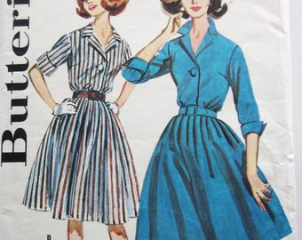 60s Butterick 9967 Flared ShirtDress with Collar - Size 12 Bust 32