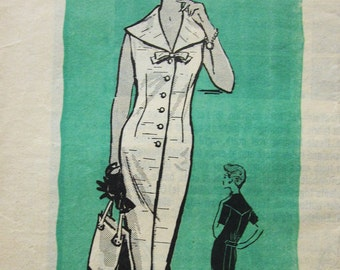 50s Mail Order 9322 Slim Dress with Front Buttons and Wide Collar, Sleeveless or Short Sleeve - Size 16 Bust 35