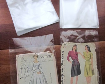 100 Acid Free Protective Envelopes for Sewing Patterns in Two Sizes, Resealable, 6 1/2 x 9 1/2 and 7 3/8 x 10 1/2