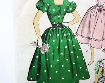 50s Advance 8404 Teen Dress Square Neck, Puff Sleeves, Full Skirt - Size 12 Bust 30