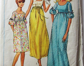 60s Simplicity 6560 Empire Waist with Low Round Neckline, Maxi or Knee Length, Junior - Size 9 Bust 30