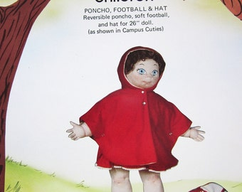 Foster Children Poncho, Football and Hat for 26 inch Doll, Campus Cuties Sewing Patterns