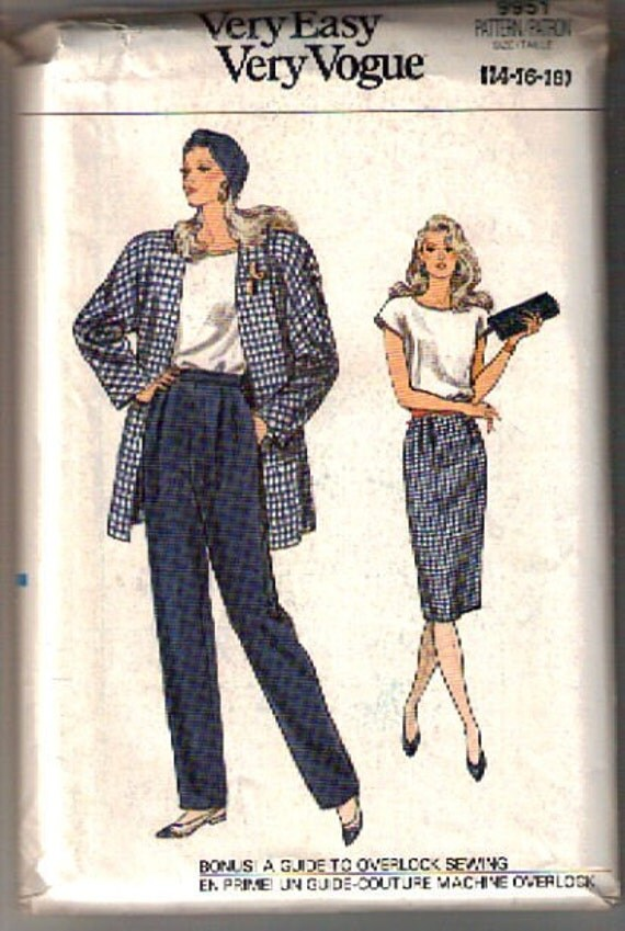 Vogue 9951 Very Easy Very Vogue 1987 Size 14 16 18 Bust 36 38 40 Jacket top Skirt pants
